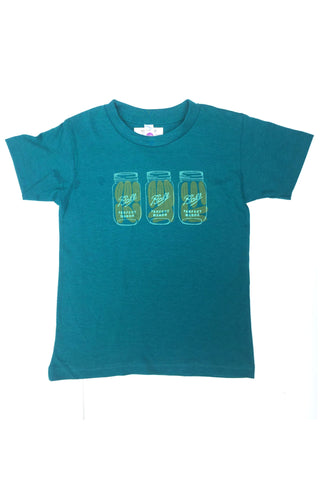Kids Workshop Studio Mason Jar Pickle Tee in evergreen. Handprinted in Ottawa Canada