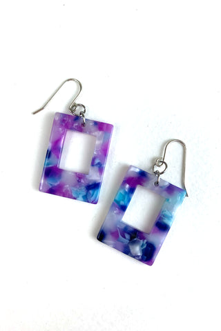 Hollow Rectangle Acetate Earrings