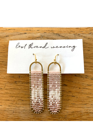 Freya Beaded Earrings - Transparent Pink Cream Rosegold Ombre