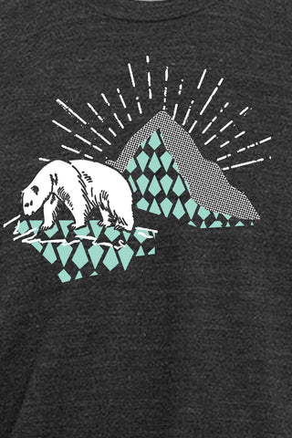 Workshop Studio, Hand silkscreened, polar bear tee, detail. Handprinted in Ottawa, Canada