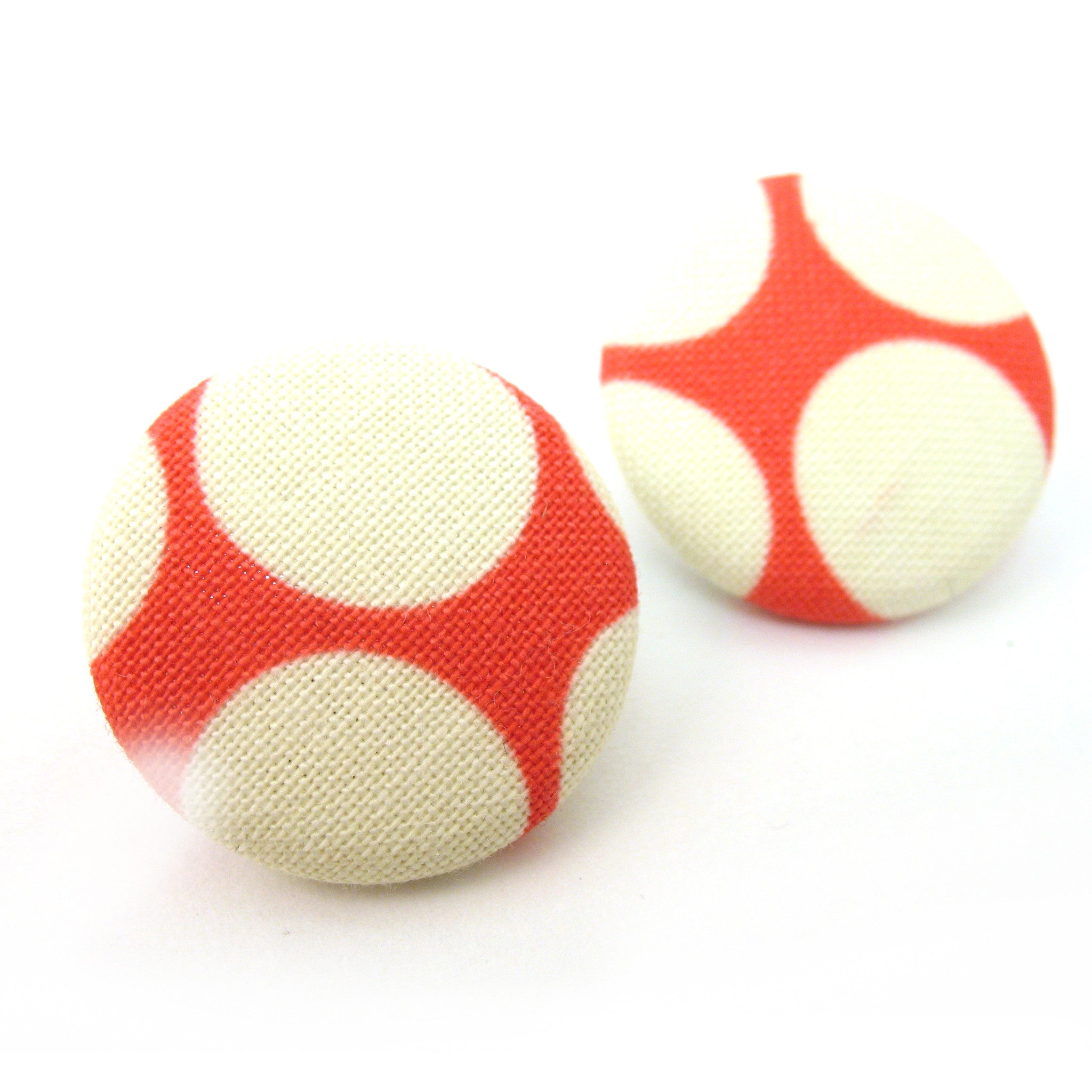 Vintage Fabric Button Earrings