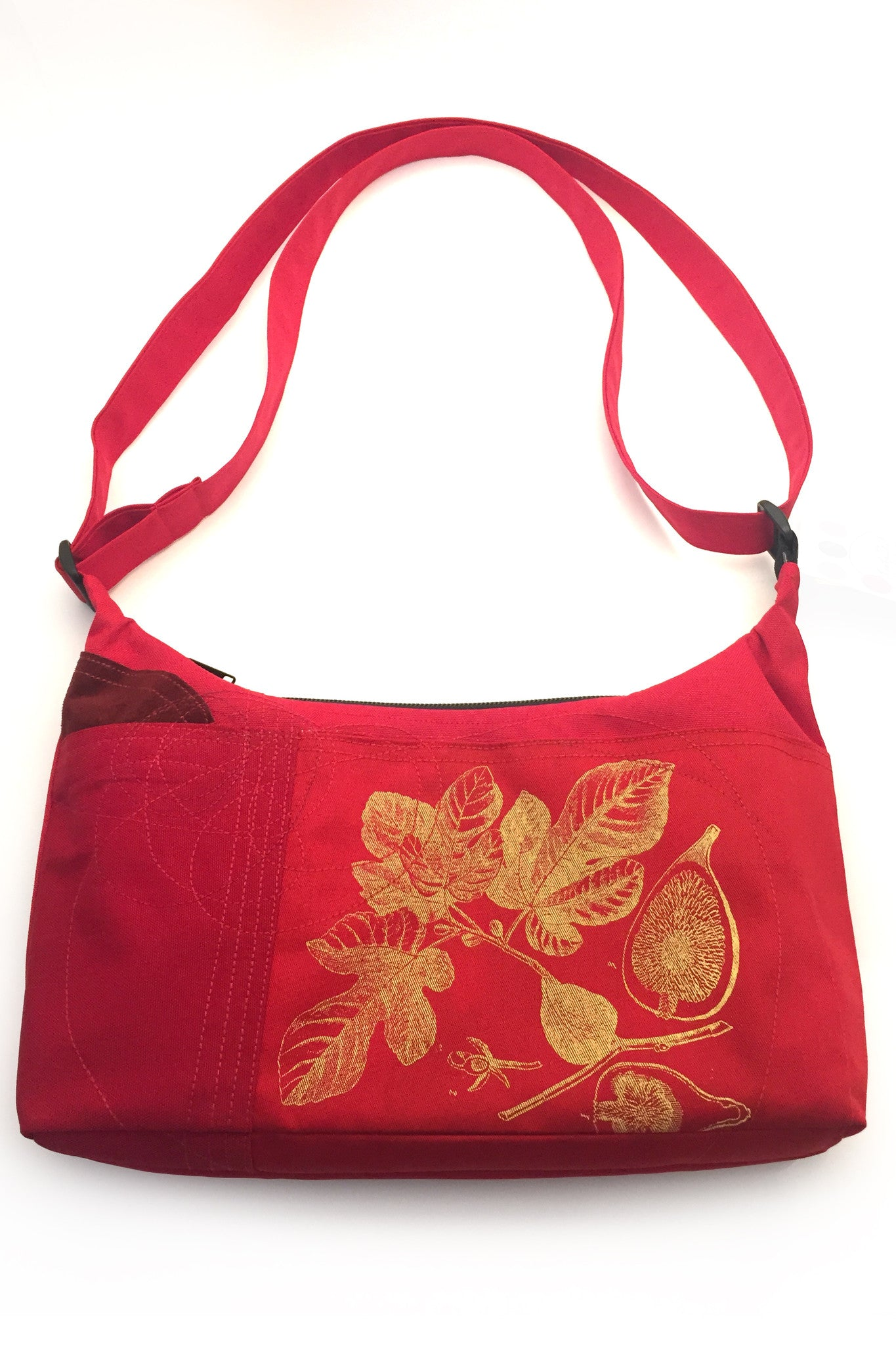 Cynthia DM One of a Kind Water Resistant Small Bag - Red Figs and Leaves  Handmade in Quebec