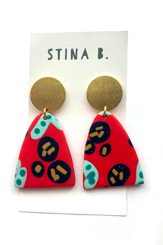 Red Polymer Clay and gold plated stud earrings