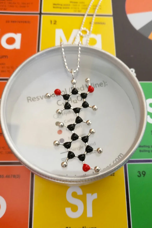 Red Wine (Resveratrol) Molecule Necklace - C14H12O3