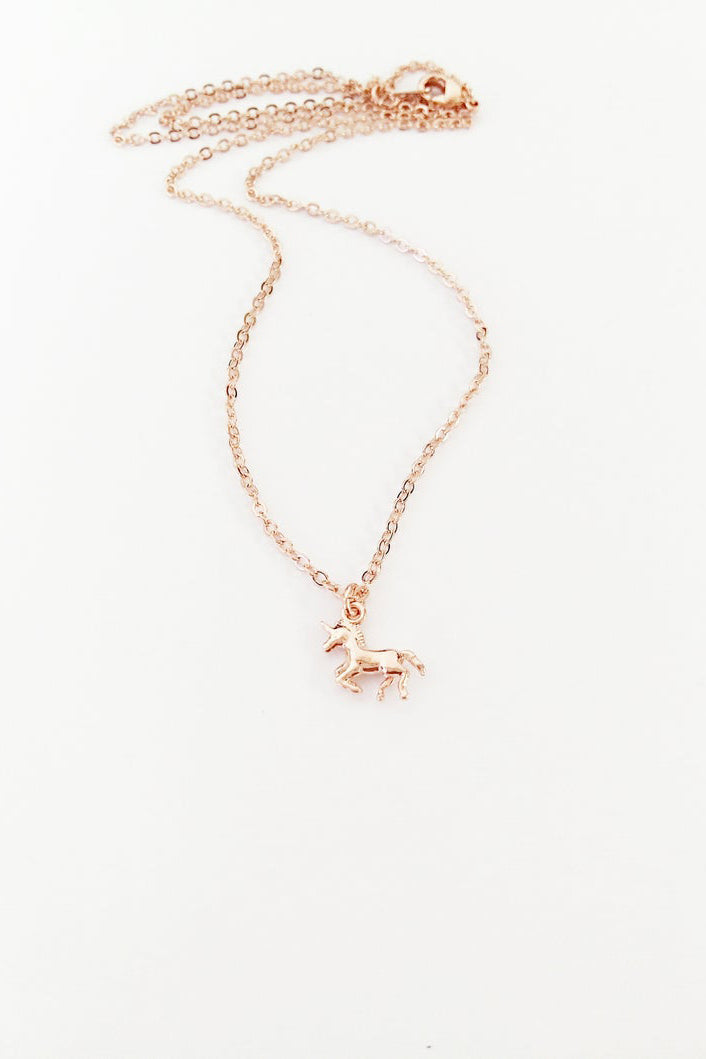 Tiny Unicorn Sterling Silver or Rose Gold - Necklace