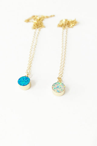 Tiny Round Opal Necklace on Gold Filled Chain
