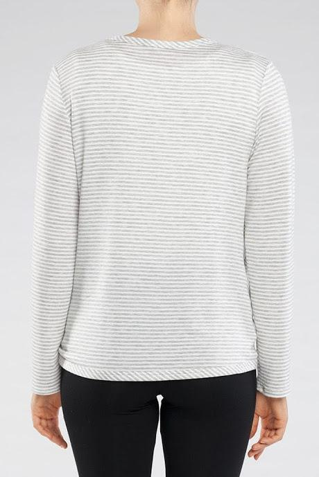 Pryia Sweater by Kollontai, back view, twisted front, long sleeves, lightweight knit, grey and white stripes, sizes XS to XL, made in Montreal