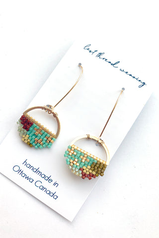 Sally Round Beaded Earrings - Mint, Rust & Gold