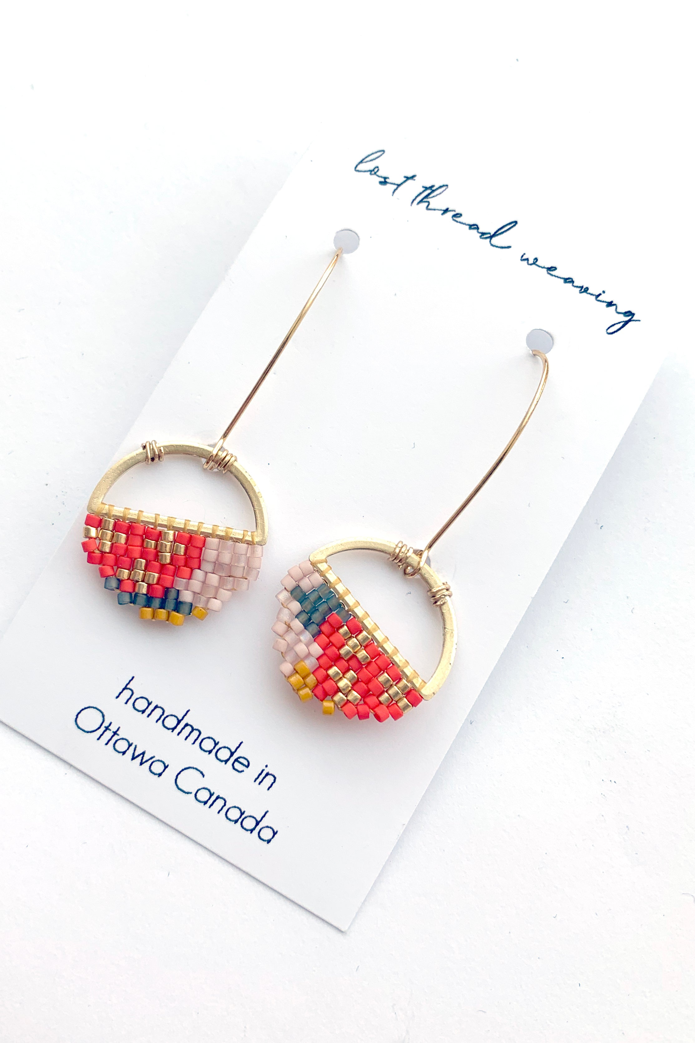 Sally Round Beaded Earrings - Red, Blush and Mustard