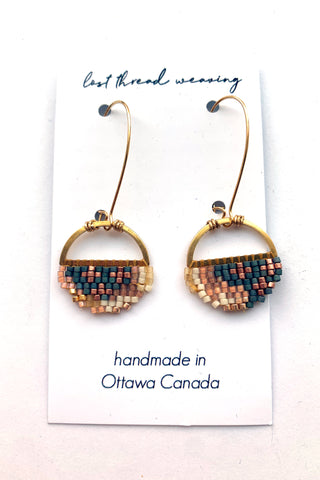Sally Round Beaded Earrings - Blue Grey, Copper, Blush, Cream MADE TO ORDER