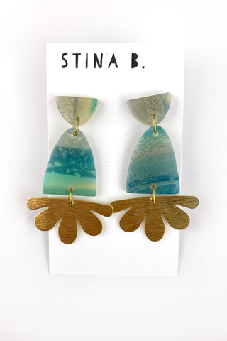 Translucent Polymer Clay  Dangle Earrings with Raw Brass Sun Charms