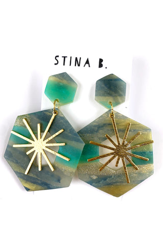 Hexagon Translucent Polymer Clay  Dangle Earrings with Starburst
