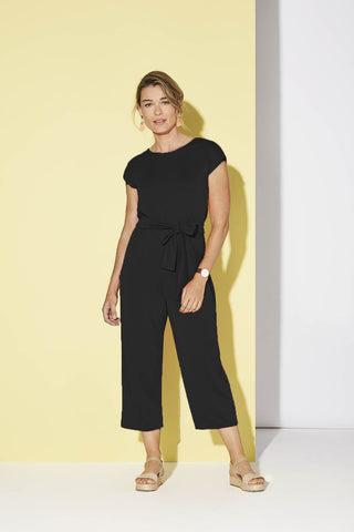 Sedona Jumpsuit by Cherry Bobin, Black, reversible, faux-wrap on one side, round neck on one side, attached tie-up belt, wide cropped legs, modal, sizes XS to XL, made in Quebec