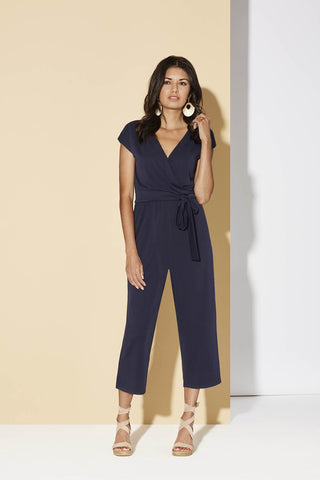 Sedona Jumpsuit by Cherry Bobin, Navy, reversible, faux-wrap on one side, round neck on one side, attached tie-up belt, wide cropped legs, modal, sizes XS to XL, made in Quebec