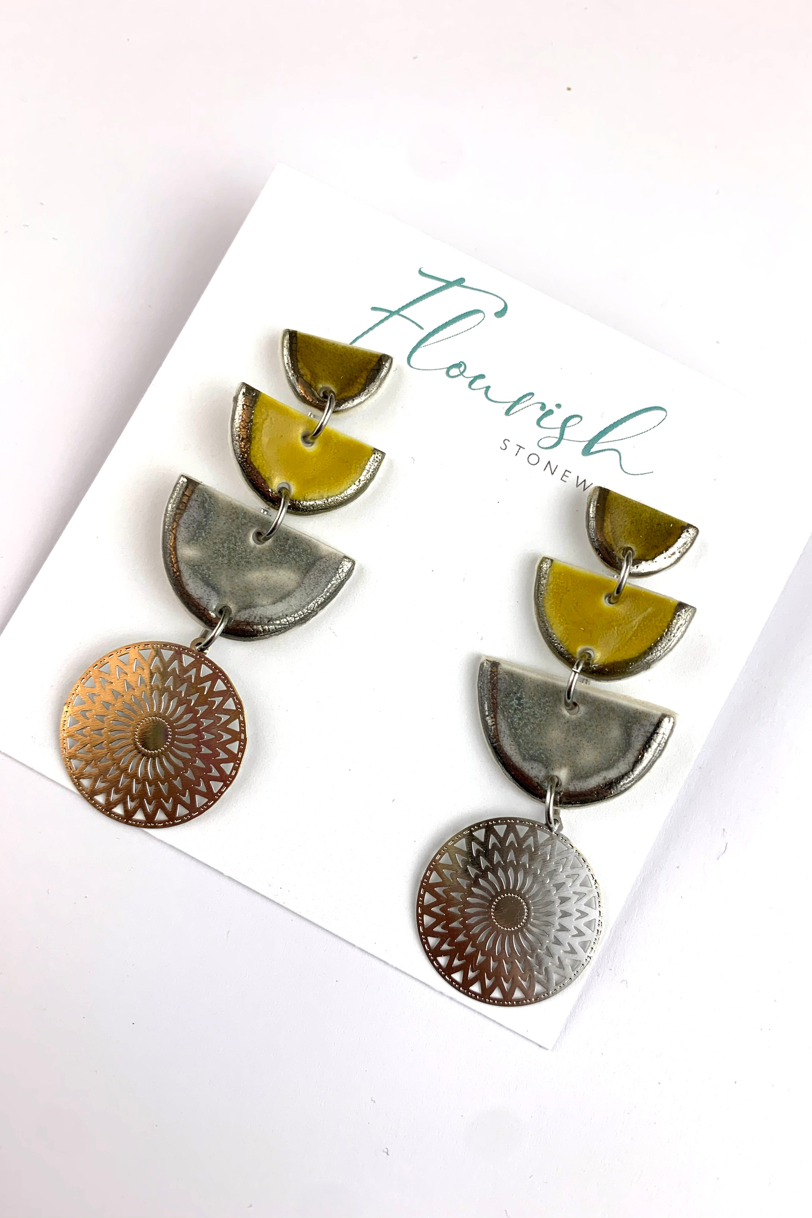 Olive, Curry and Blue Grey Halfmoons with White gold Lustre and Silver Mandalas
