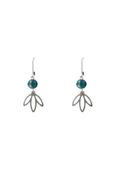 BP-19011/Leaf and natural stone earrings