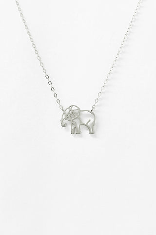 Outline Elephant Sterling Silver Necklace