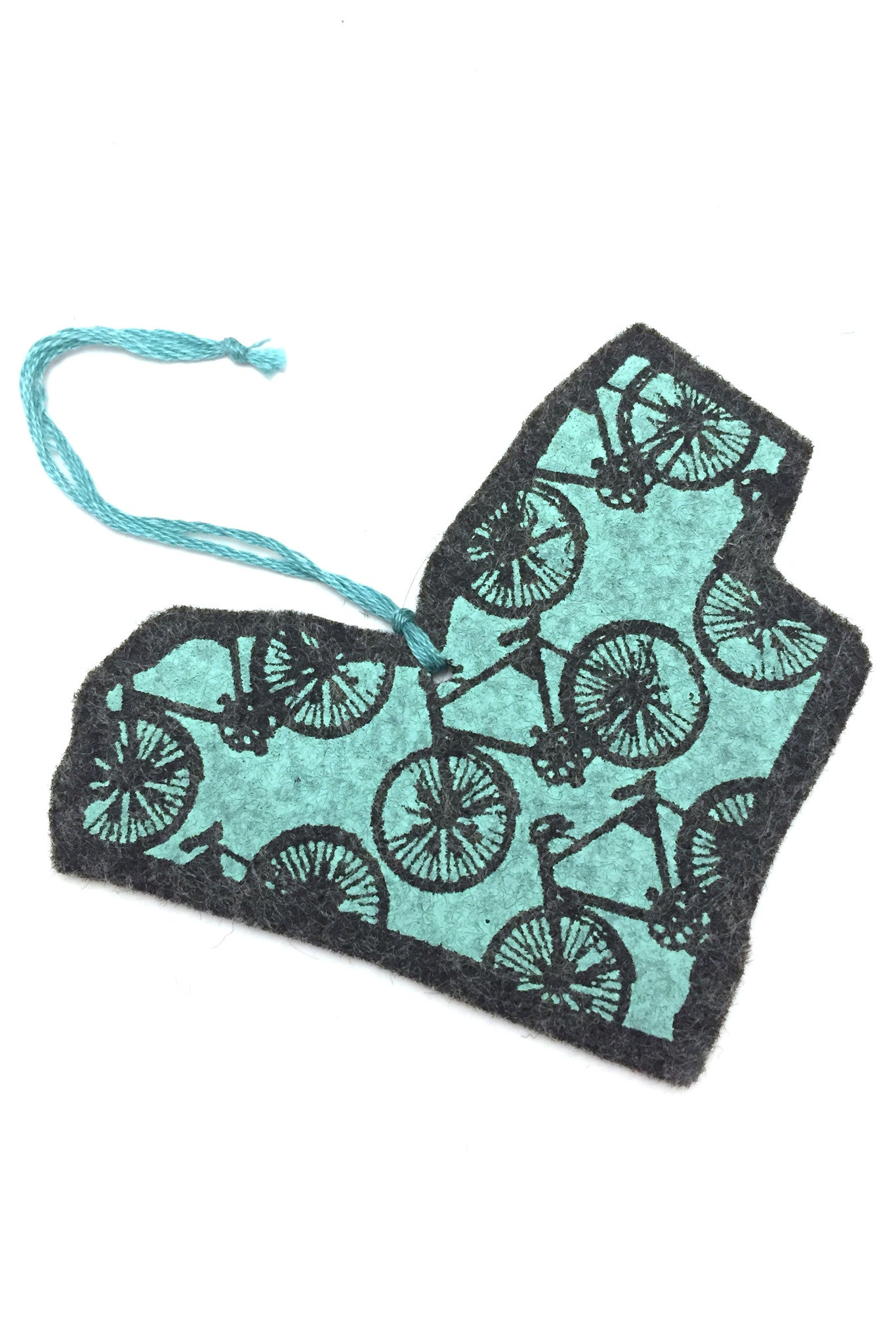 Ottawa bike love ornament, hand silkscreened felt in the shop of Ottawa