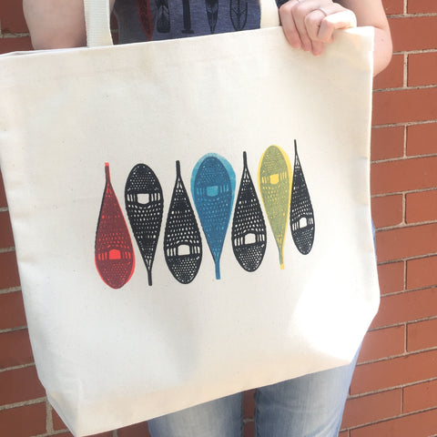 Hand Silk-screened Snowshoes Canadian Tote Bag, Handamde in Ottawa Canada