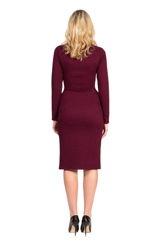 Sophia Dress by Copious Couture, Plum, fitted, quilted stretch cotton, sizes XS to XL, made in Canada