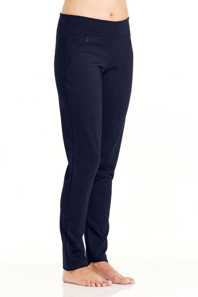 SOZ Pants by FIG Clothing, Black, semi-fitted leg, elastic waist, mid-rise, front slant pockets with invisible zippers, ponte di roma fabric, sizes XS to XL, made in Canada