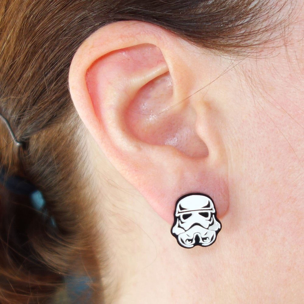 Star Wars Stormtrooper Earrings by Creations Lilipop, reclaimed plastic, engraved, laser-cut, white paint-fill, stainless steel posts and backings