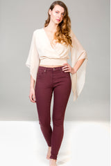 SWP1330 Raisin high rise skinny yoga jeans. Made in Quebec sizes 25 to 33