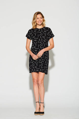 Cherry Bobin SS21 Sydney Black T Shirt Dress with White Abstract 80's inspired print. Made in Canada