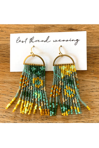 Tara Beaded Fringe Earrings - Mint Green Neon yellow gold mustard