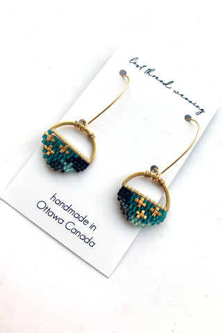 Sally Round Beaded Earrings - Teal and Black - MADE TO ORDER
