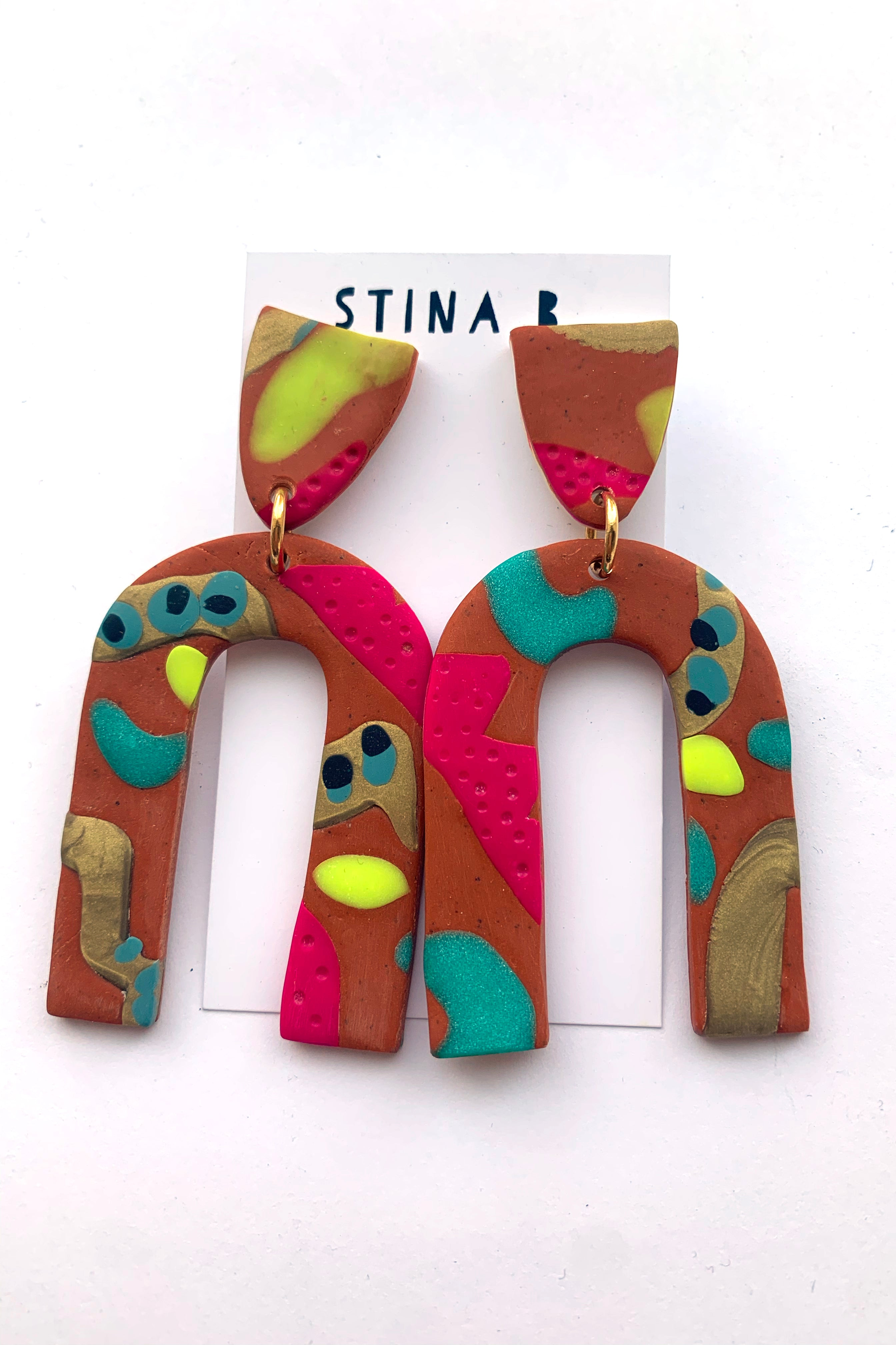 Terra Cotta Colour Pop  Extra Large Arch Earrings
