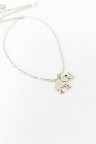 Tiny Elephant Sterling Silver or 14kt Gold Plated Necklace