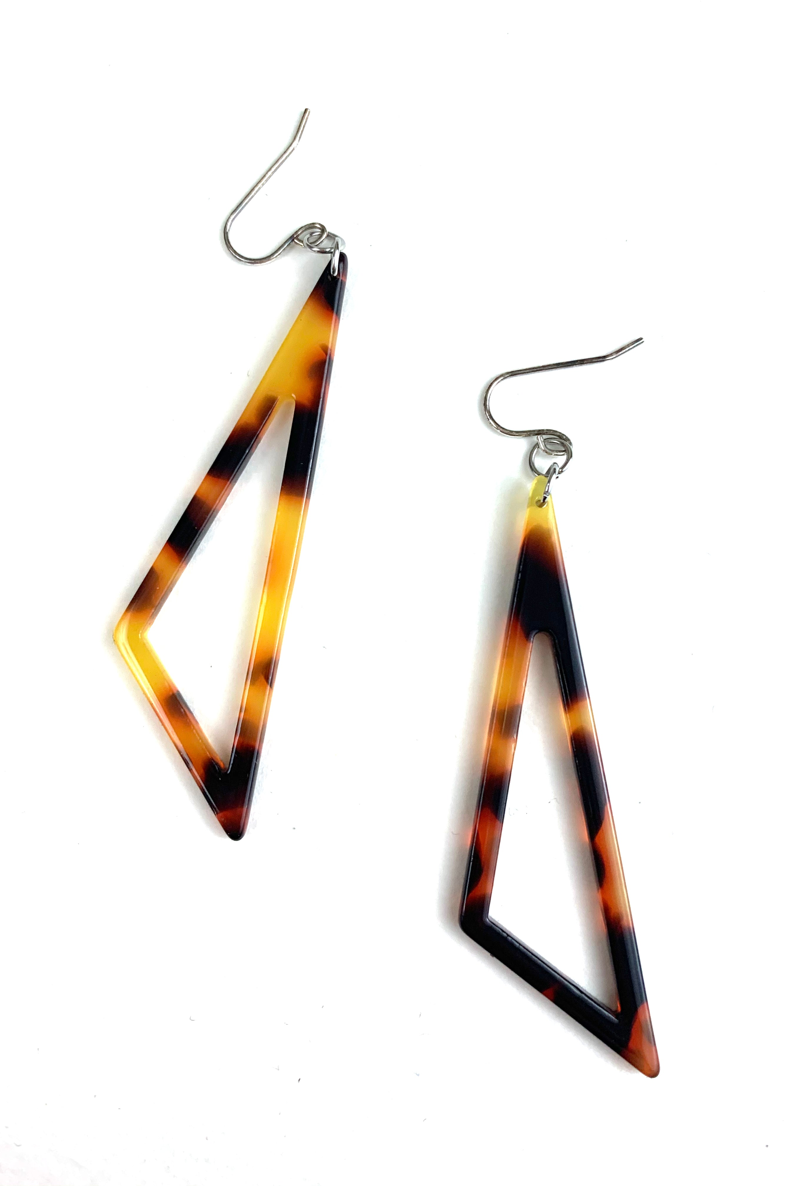 Large Scalene Hollow Triangle Acetate Earrings