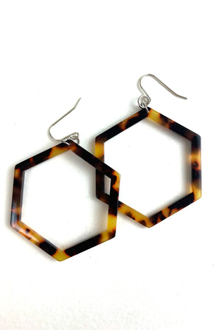 L Cellulose Acetate Hexagon Hoop Earrings