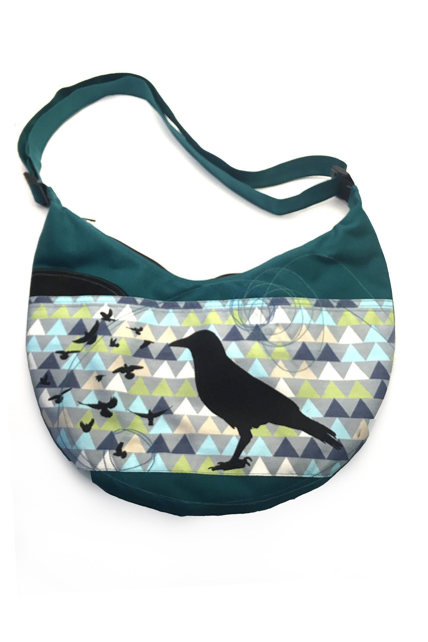 Cynthia DM One of a Kind Round Bag - Teal Crows and Triangles