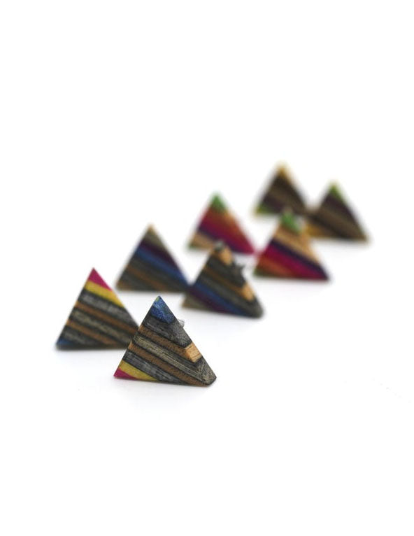 Triangle stud earrings made from repurposed skateboards