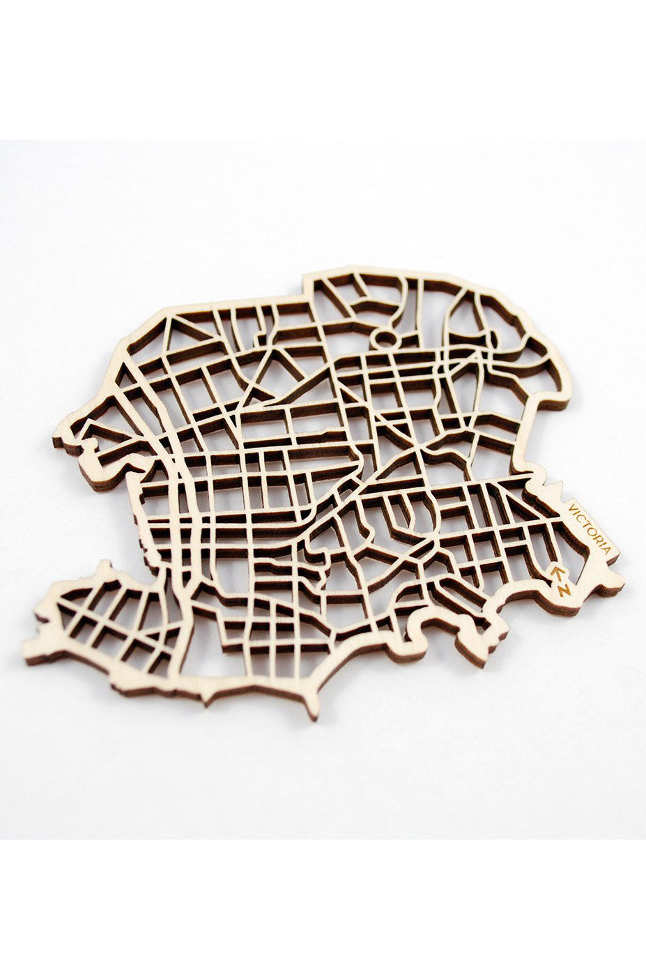 "The National Design Collective Victoria ""I Kinda Like it Here"" Wood Coaster. Made in Canada"