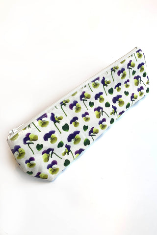 GEMSY STUDIO Pencil Pouch in Violets print