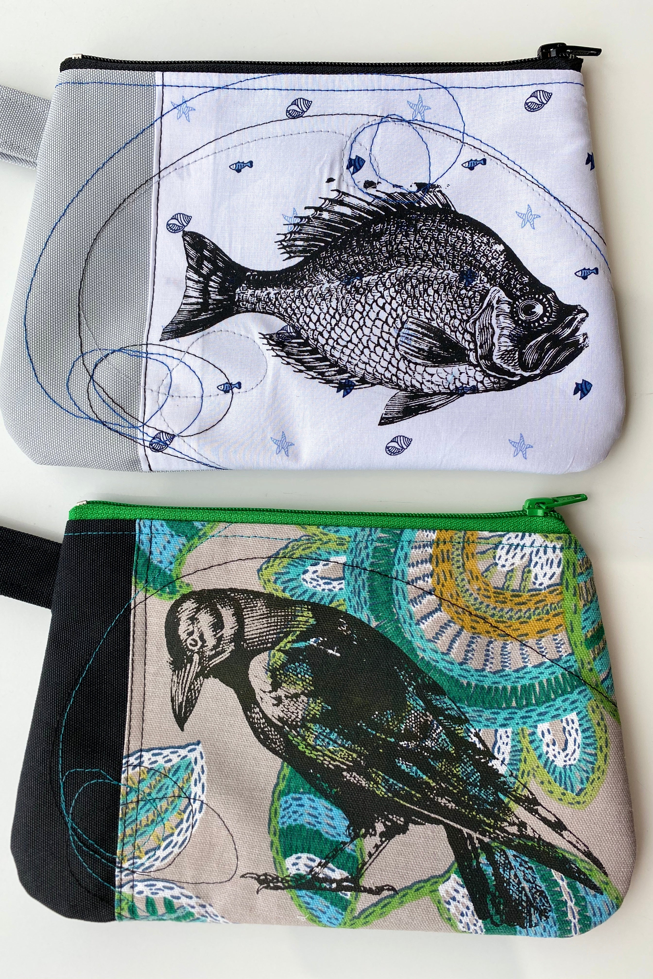 Cynthia DM waterproof pouches-Fish and Crow