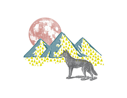 Wolf and Moon Print