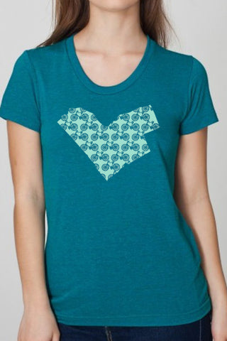 Workshop Studio, Ottawa, Bike Love, Map  Women's Tee. Handprinted in evergreen. Made in Ottawa, Canada