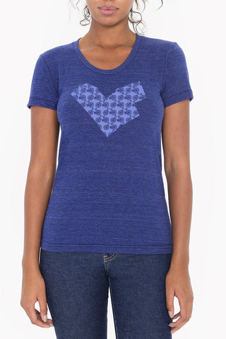 Workshop Studio, Ottawa, Bike Love, Map  Women's Tee. Handprinted in indigo. Made in Ottawa, Canada