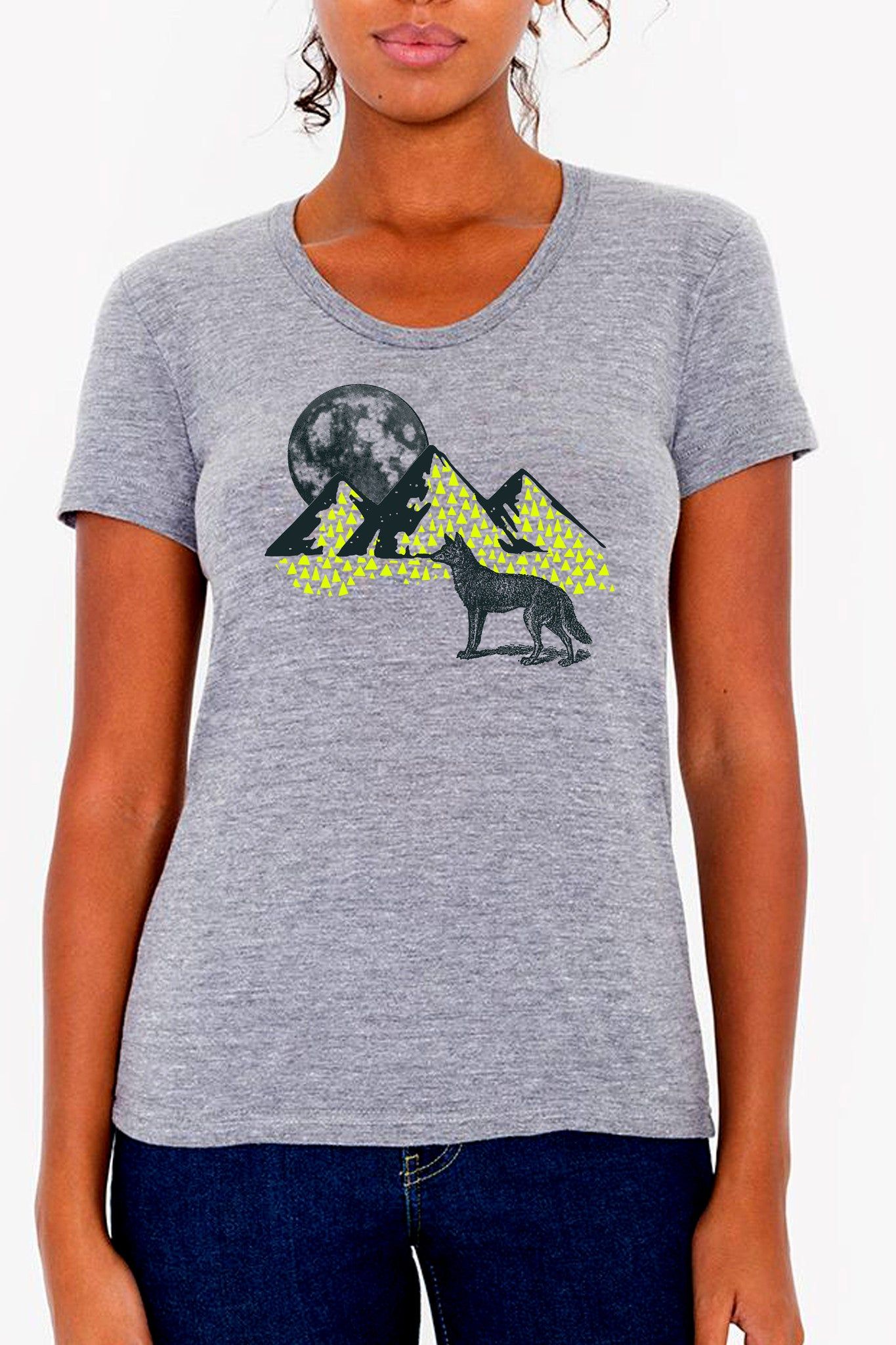 Workshop Studio, Full Moon and Wolf, hand silkscreened tee. Neon Yellow and steel blue. Made in Ottawa, Canada