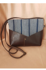 Front view Woodstock  Recycled Leather Shoulder Bag with BLUE STRIPED Weaving