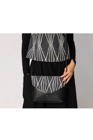 Woodstock  Recycled Leather Shoulder Bag with Black and White Diamond Fabric