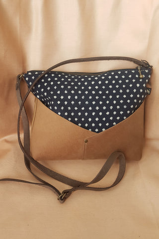 Woodstock Recycled Leather Shoulder Bag with Blue Japanese Dots Fabric by Kazak