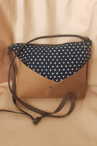 Woodstock Recycled Leather Shoulder Bag with Blue Japanese Dots Fabric