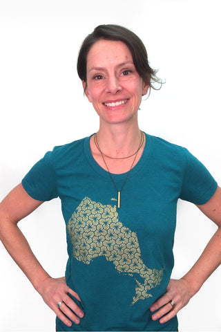 Workshop Studio Ontario T-shirt, evergreen, golden trilliums, province of Ontario, silkscreen, sizes S-XL, made in Ottawa