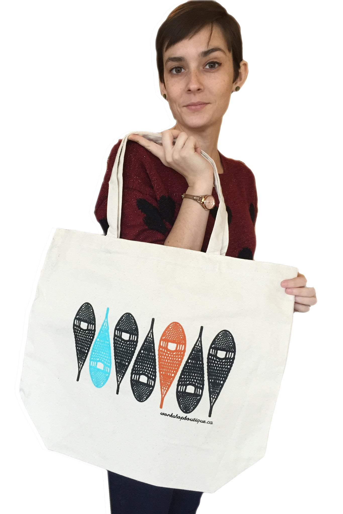 Silk-screened Snowshoes Canadian Tote Bag, Made in Ottawa Canada