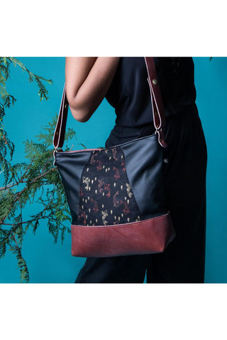 Shoulder bag Yupik Koi Fabric and black  and dusty rose leather